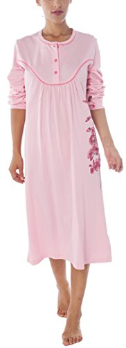 Chemise de nuit Femme 100% Coton Manches longues Rose