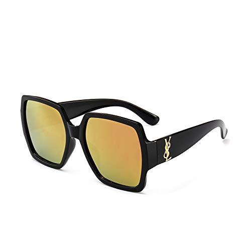 Yangjing-hl Brillenmode Wild Big Box Square Sonnenbrille C schwarzer Rahmen Puder