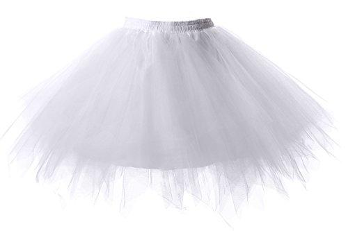 Poplarboy Damen Kurz 50er Vintage Petticoat Reifrock Mehrfarbengroß Unterröcke Braut Crinoline Ballett Blase Tutu Ball Kleid Underskirt Weiß