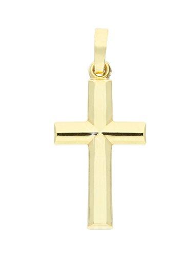 MyGold Kreuz Anhänger (Ohne Kette) Gelbgold 750 Gold (18 Karat) Glanz 25mm x 12mm Goldkreuz Kreuzanhänger Kettenanhänger Geschenke Für Männer Frauen Rose Angle A-02218-G501
