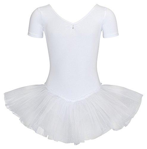 tanzmuster Kinder Ballett Tutu Nele - süßer Kurzarm Ballettbody mit Tuturock und Glitzersteinen in weiß, Größe:128/134