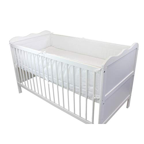 TupTam Baby Nestchen für Babybett Gemustert, Farbe: Weiß, Größe: 420x30cm (für Babybett 140x70)