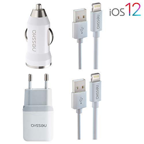 NessKa Original 4in1 Schnell Ladegerät | 2A Netzteil + 2A KFZ Adapter + 2X 1 Meter USB Highspeed Ladekabel Auto | iOS 12 | für iPhone X/XR/XS/Max / 10/8 / 7 / 6s / 6 / Plus / 5s / 5 / iPod