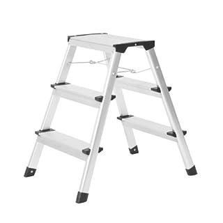 Trittleiter Alu Klapptritt mit Spreizsicherung und 3 Stufen bis 150 kg belastbar - Leiter aufgestellt ca. 43,5 x 61 x 60,5 cm die ideale Haushaltsleiter