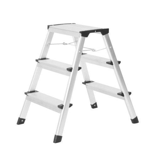 Ribelli Trittleiter Alu Klapptritt mit Spreizsicherung und 3 Stufen bis 150 kg belastbar - Leiter aufgestellt ca. 61 x 60 x 43 cm die ideale Haushaltsleiter (3 Stufen, Alu)