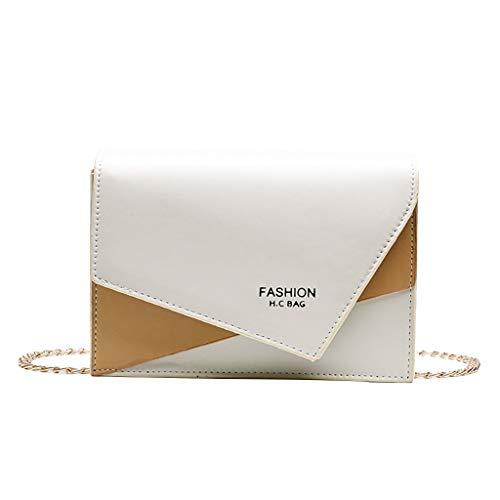Ledertasche, Schultertasche, Geschenk, Handgefertigte Tasche,Frauen Kontrast Single Shoulder Slung Chain Wild Kleine quadratische Tasche ()
