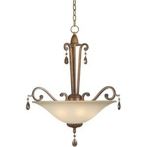 Forte Lighting 2390-04-41 4-Light Traditional Pendant, Rustic Sienna Finish with Shaded Umber Glass by Forte Lighting