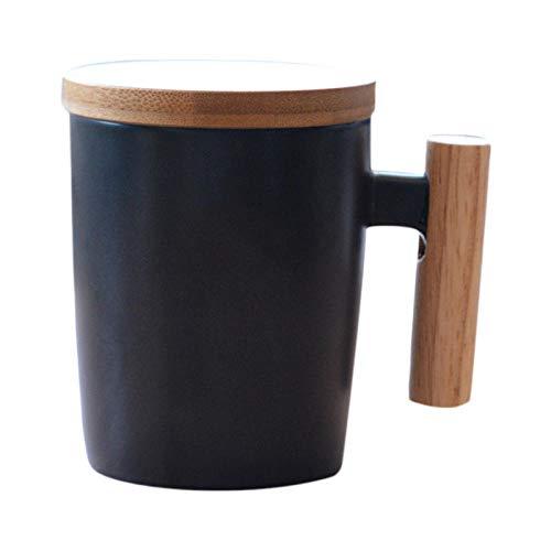 PINGZIJIA Japan Art Kurze Reise Kaffeetasse Keramik Porzellan Milch Becher Kaffeetasse mit Holzgriff Deckel Tonwaren Wasser Tee Schalen Geschenk @Black