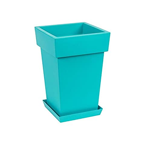 Original Lofly Square turquoise flowerpot with saucer, 36 cm of height