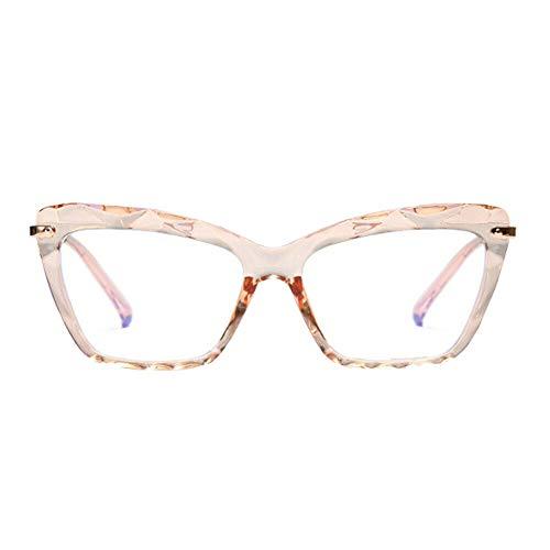 Zhuhaixmy Frauen Blaues Licht Blockierung Brille - Anti-UV [Anti-Augen-Müdigkeit] Mode Brillen - Kristall Katze Auge Rahmen Elastisch Beine Vintage Brillen(Tee)