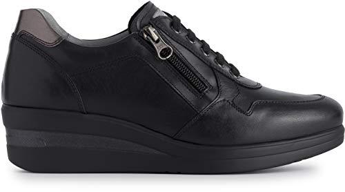 Sneaker donna nerogiardini in pelle nero con zeppa a908850d. scarpa dal design raffinato. collezione autunno inverno 2019 2020. eu 36