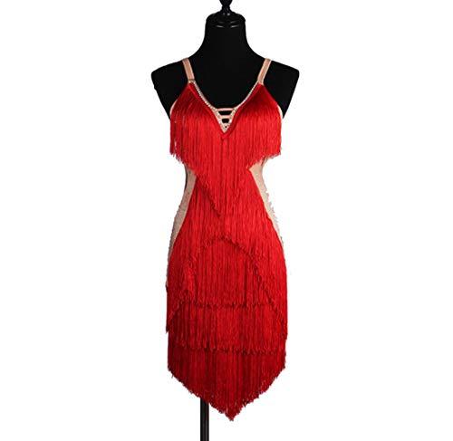 ZYLL Latin Dance Kleider -V-Ausschnitt Salsa Mit Fransen Latein Tanzen Wettbewerb Kostüm Sexy Schlinge Lombard Performance - Red Flapper Sexy Kostüm