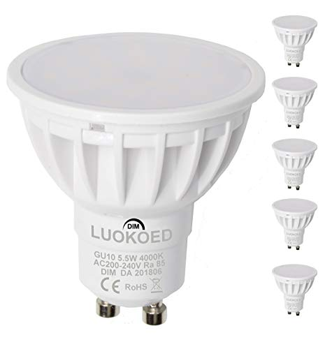 Bombilla Gu10 LED Foco 500lm Equivalente a 50W Luz Blanca Natural 4000K...