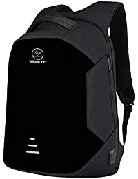 Vebeto Anti Theft Backpack with USB Charging Port 15.6 Inch Laptop Bagpack Waterproof Casual Unisex Bag for School College Office Suitable for Men Women (Black)