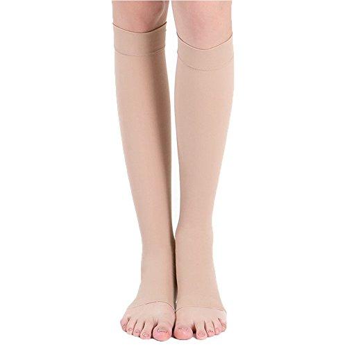 EXIU 18-21mm Hg KNEE HIGH COMPRESSION Men Women Dress Socks Support Open Toe