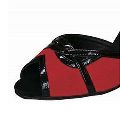 Scarpe da ballo-Personalizzabile-Da donna-Balli latino-americani / Salsa-Tacco su misura-Raso / Finta pelle-Marrone / Altro Black/Red
