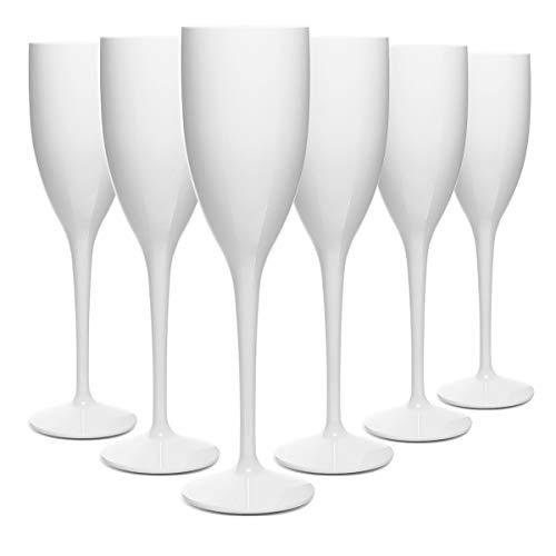 RB Unzerbrechlich Sektglas Weiß Polycarbonat Premium-Kunststoff 13cl, Stück 6