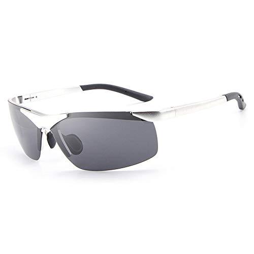 Männer polarisiert Fahren Angeln Laufen Sonnenbrille 100% UV400 Schutz Half Frame Sonnenbrille für Brille (Color : Silber)