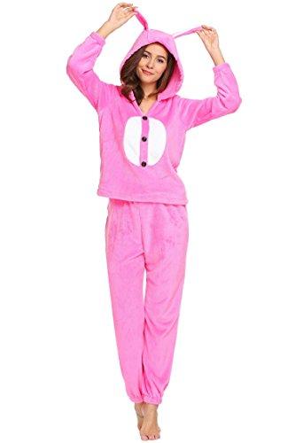 ADOME Damen Fleece Jumpsuit Muster Einteiler Overall Strampelanzug Reißverschluss Hausanzug Rosa147