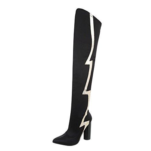 Flache Heel Stiefel (Ital-Design Overknees Damen-Schuhe Overknees Pump High Heels Reißverschluss Stiefel Schwarz, Gr 40, Jr-010-)