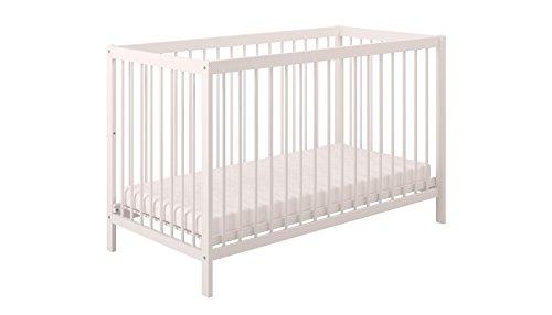 Polini Kids Babybett Gitterbett Kinderbett Simple 101 aus Naturholz lackeirt in verschiedenen Farben (weiß)
