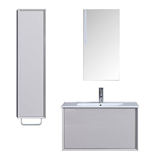 Interouge Meuble de Salle de Salle Simple Vasque avec Colonne de Rangement et Miroir LED - Ivoire laqué