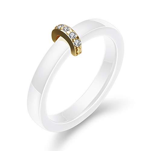 AllRing Herrenring aus Keramik,Paare Halbkreis goldenen Metall AAA Diamant Keramikringe mit Zirkon-Ringen