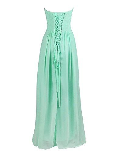 Dresstells Brautjungfernkleid Lang Chiffon Abendkleider mit Schnürung DT100068 Blush