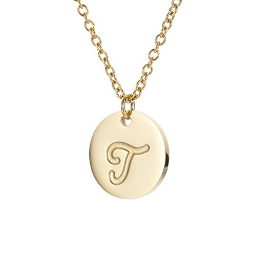 AOLOSHOW T Initiale Halskette 14k Gold Edelstahl Fein Schmuck Initial Halskette 14k Gold
