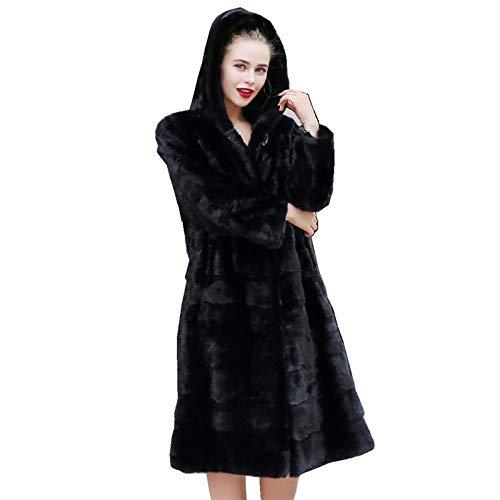 YRFDM Warmer Mantelm,110cm Länge Echte Mäntel Jacke mit Kapuze Winter Echte Frauen Oberbekleidung Mäntel Plus Size 4XL 5XL 1