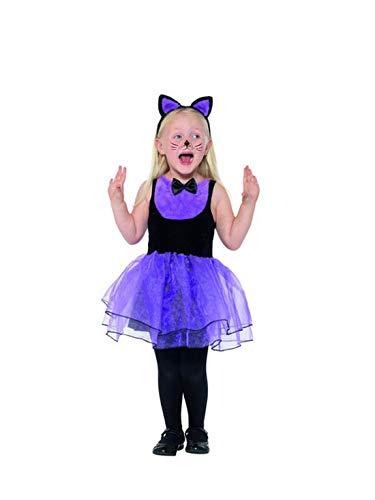 Fancy Ole - Mädchen Girl Kinder Cute Cat Katzen Toodler Kostüm, mit Tütü Kleid und Kopfschmuck, perfekt für Halloween Karneval und Fasching, 98-104, Lila (Cute Kid Katze Kostüm)