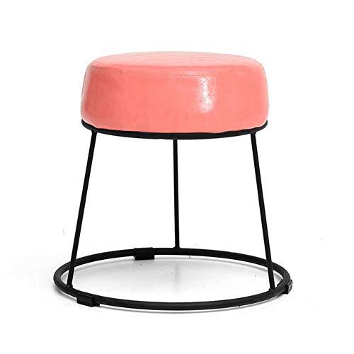 WYYY Bürostuhl Kleine Runde Stapelbar Fußbank Ottomane Fußstütze Gemütlich Polster- Durable stark (Farbe : Rosa, größe : 46cm)