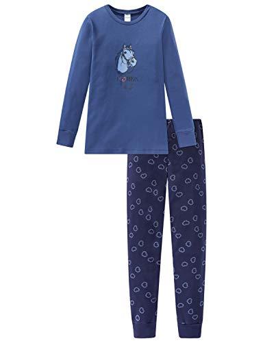 Schiesser Mädchen Pferdewelt Md Anzug lang Zweiteiliger Schlafanzug, Blau (Jeansblau 816), (Herstellergröße: 140)
