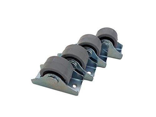 (Packung mit 4 Stück) 25 mm Gummirollen-Set aus Kunststoff, drehbar, Doppelrollen, Metall mit Platte, für Möbel, Geräte & Ausrüstung, kleine Mini-Rollen
