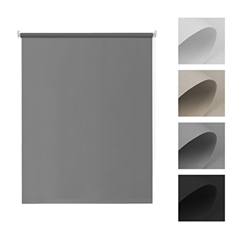 Tenda oscurante a rullo avvolgibile - 60 x 170 cm (larghezza x altezza), grigio - senza viti per finestra con morsetto laterale, termica e isolante