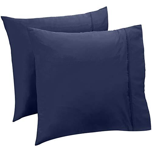 AmazonBasics Taie(s) d'oreiller 400 fils, Lot de 2, 65 x 65 cm - Bleu marine
