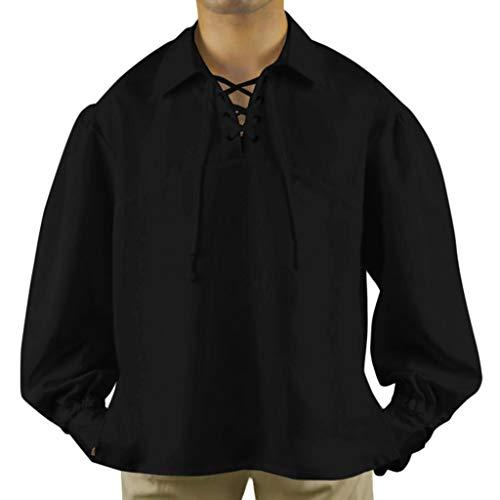 Stehkragen Steampunk Gothic Vintage Slim Fit Mit Stickerei Langarmhemd Mittelalterhemd Freizeitshirt Cosplay Elegant Victorian SchnüRhemd Halloween(Schwarz,XXL) ()