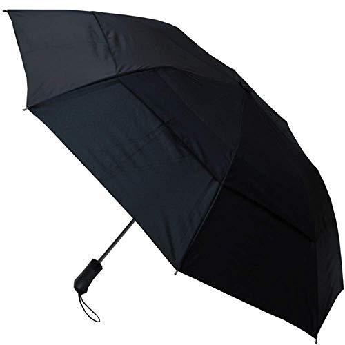 COLLAR AND CUFFS LONDON - SELTEN 2-FACHE Design - 128 cm Bogen - SEHR STARK - Windproof - Verstärkt mit Fiberglas - Ventilationsbezug - Taschenschirm - Automatik - Fiberglas Regenschirm - Schwarz