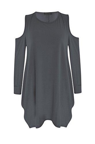 Femmes Ladies Cut épaule Plus Size ample encolure dégagée Baggy Batwing Style vestimentaire Top Charbon de bois