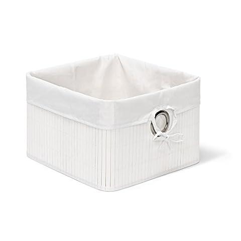 Relaxdays Aufbewahrungskorb Bambus H x B x T: ca. 20 x 31 x 31 cm Regalkorb für Regal und Schrank mit abnehmbarem Stoffbezug als dekorative Aufbewahrungsbox mit Griff und Stauraum zum Falten,