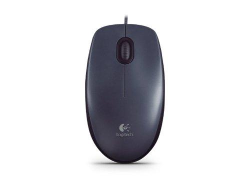 Logitech M90 Maus mit Kabel, 1000 DPI Sensor, USB-Anschluss, 3 Tasten, Für Links- und Rechtshänder, PC/Mac - schwarz