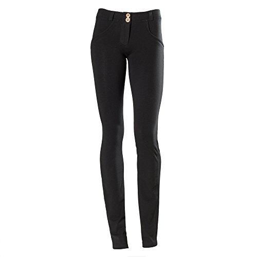 Freddy WR.UP - Pantaloni dritti da donna, a vita bassa, effetto modellante, Medium, nero