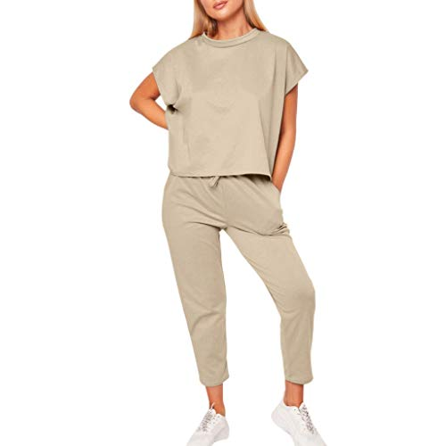 Oksea Zweiteiliger Freizeitanzug Kurzärmeliger Rundhalsausschnitt für Damen 2-teiliges Freizeitset Damen Sommer Trainingsanzüge Set Sport Lounge Wear Damen Casual Oberteile Hosenanzug