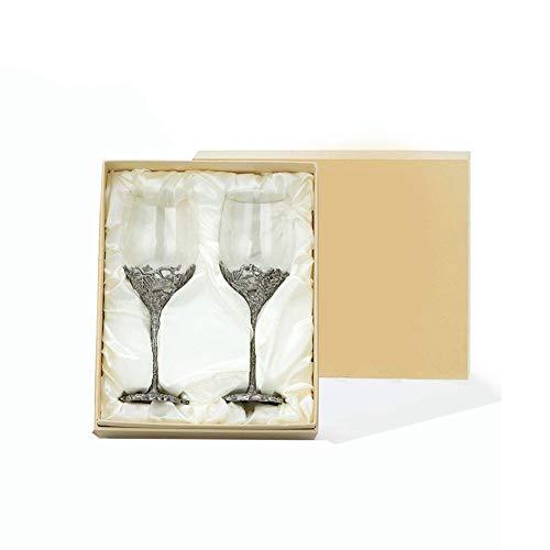 QYZLT Rotweinglas Set Zinn Patina Wein zu Tasse bleifreien Kristallglas kreative Heimatparty Glas Becher Geschenk Dekoration,K9,8x8x22cm