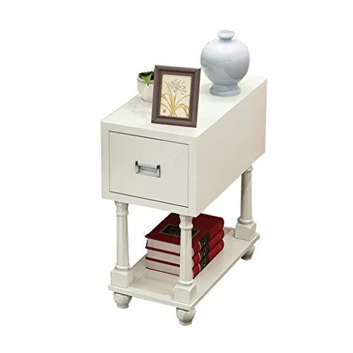 Tables basses Chariot à thé canapé du Salon Un Peu Petite en Bois Massif Table d'appoint Amovible Meuble rectangulaire (Color : Blanc, Size : 56 * 30 * 57cm)