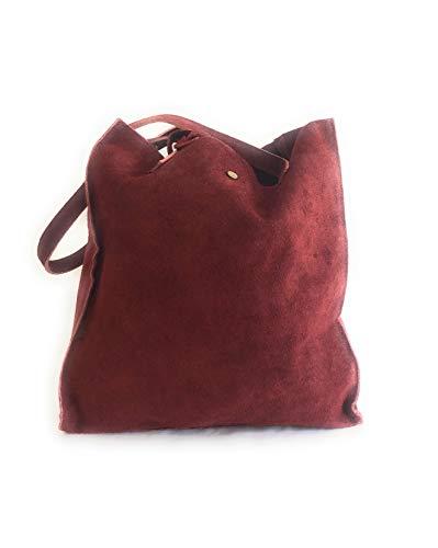 MASSIMA BARONI_Damentasche. Wildlederbeutel. LIA-Modell. Ideal, um zur Universität zu gehen, zum Institut zu gehen. Einkaufstasche (granatrot) - Gucci Authentischen Handtasche Tasche