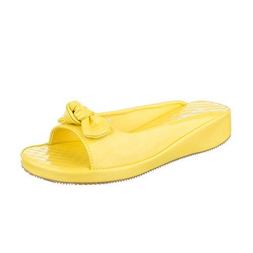 Pantoletten Damen Schuhe Jazz & Modern Keilabsatz/ Wedge Leichte Ital-Design Sandalen / Sandaletten Gelb