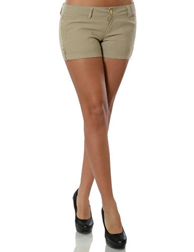 Damen Shorts Hot-Pants Kurze Hose Stretch (weitere Farben) No 15546 Beige