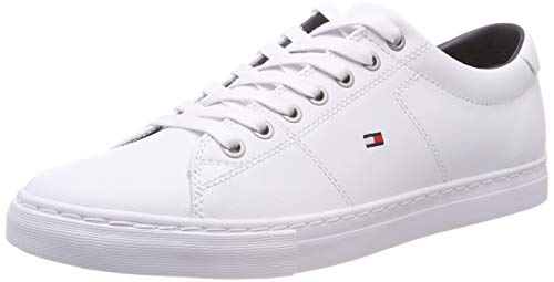 Tommy Hilfiger Herren Essential Leather Sneaker, Weiß (White 100), 45 EU