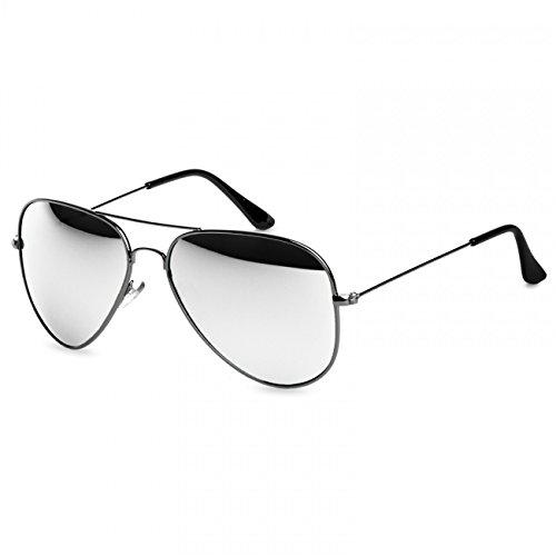 Caspar SG033 Damen Large Metal RETRO Fliegerbrille Sonnenbrille, Farbe:silber/silber verspiegelt